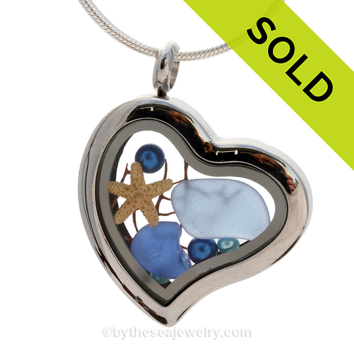 Carolina and Cobalt Blue Genuine Beach Found  Sea Glass combined a silver Heart Locket with Pearls, Starfish and Seafan. SOLD - Sorry This Sea Glass Jewelry Selection Is NO LONGER AVAILABLE!