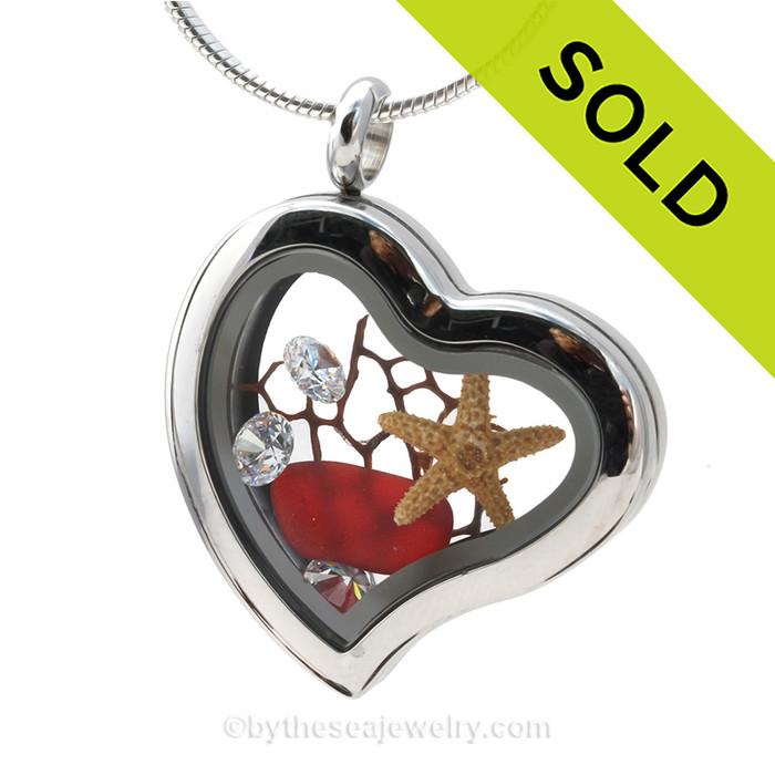 "Fire and Ice -RARE Ruby Red Beach Found Genuine Sea Glass Heart Locket Necklace W/ Starfish & CZ ""Diamond"" Gems"