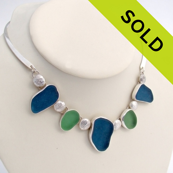 Sea Maiden - 5 Piece Sea Glass Necklace In Bezel Setting (LTD6000) SOLD - Sorry this Limited Edition Sea Glass Necklace is NO LONGER AVAILABLE!!!