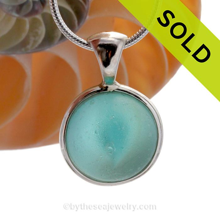 Vivid Aqua Sea Glass Catseye Marble Pendant In Deluxe Sterling Wire Bezel©