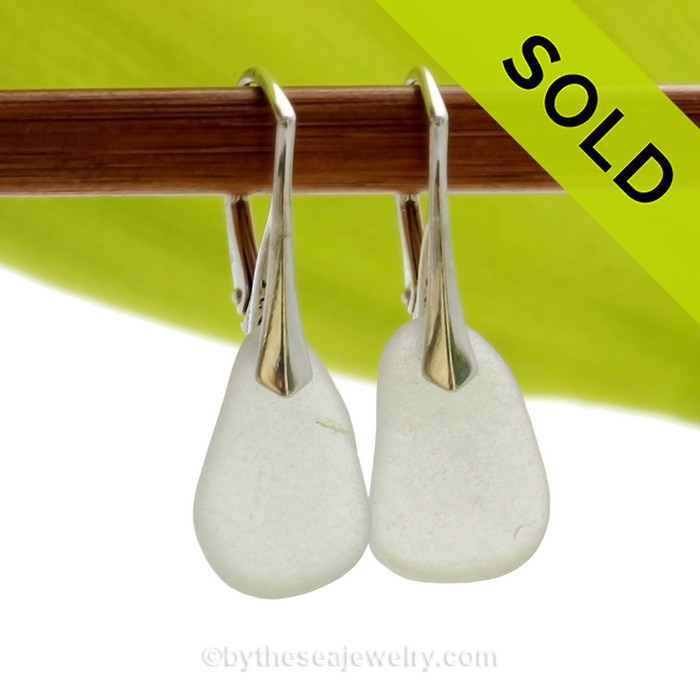 Shaped only by the sea, these natural sea glass pieces really glow hanging from these solid sterling silver leverbacks. Simple and elegant Genuine Sea Glass Earrings