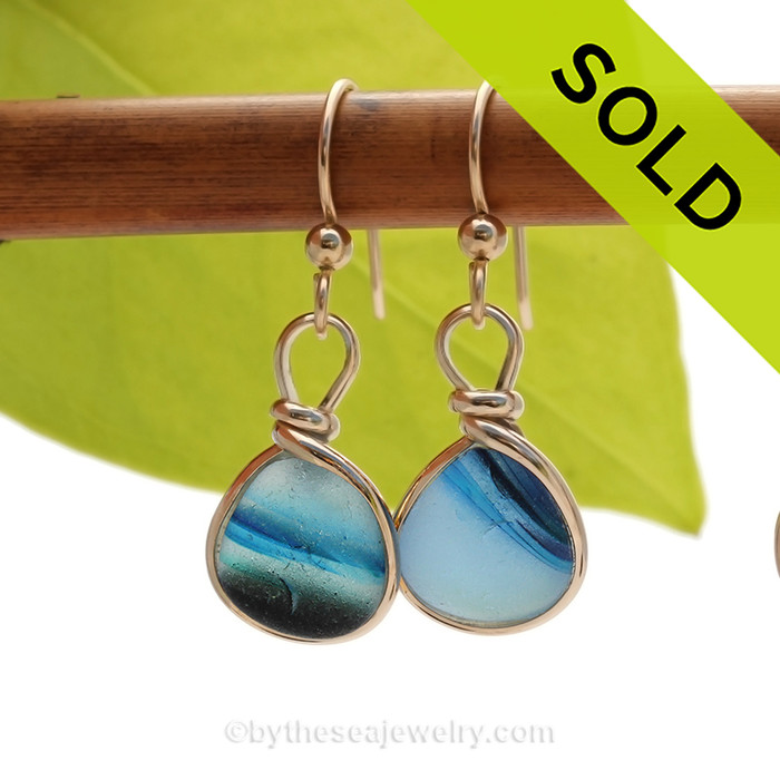 Cross Sectioned Petite Light and Dark Blue Sea Glass Earrings set in our Original Wire Bezel© setting In 14K Goldfilled. SOLD - Sorry these Ultra Rare Sea Glass Earrings are NO LONGER AVAILABLE!