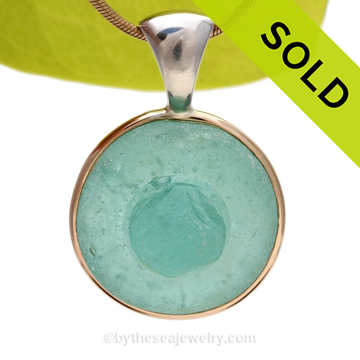 Interesting Aqua Apothecary Stopper Top sea glass set for a necklace in our Tiffany Deluxe Sea Glass Bezel© in 14K Rolled Gold and Sterling Bezel. SOLD - Sorry this Ultra Rare Sea Glass Pendant is NO LONGER AVAILABLE!