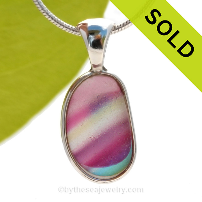 A True SUPER ULTRA ULTRA RARE Genuine Seaham Sea Glass Multi set in our Deluxe Wire Bezel© Pendant Setting. SOLD - Sorry this Ultra Rare Sea Glass Pendant is NO LONGER AVAILABLE!