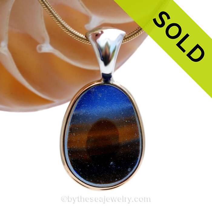 SOLD - Sorry this Ultra Rare Sea Glass Pendant is NO LONGER AVAILABLE! This amazing Super Ultra Rare multi color sea glass piece is versatile in a mixed metal Deluxe Wire Bezel© pendant setting.