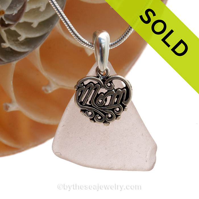 Pale Lavender Beach Found Sea Glass Necklace With Sterling Mom Charm - S/S CHAIN INCLUDED
