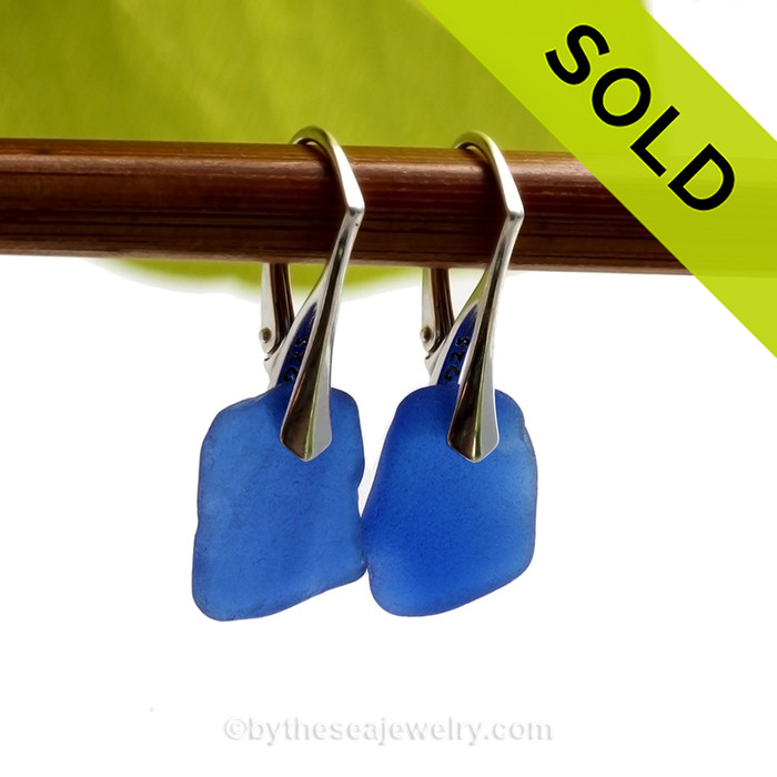 Squarish Cobalt Blue Genuine Sea Glass Earrings On Solid Sterling Silver Leverbacks. SOLD - Sorry these Rare Sea Glass Earrings are NO LONGER AVAILABLE!