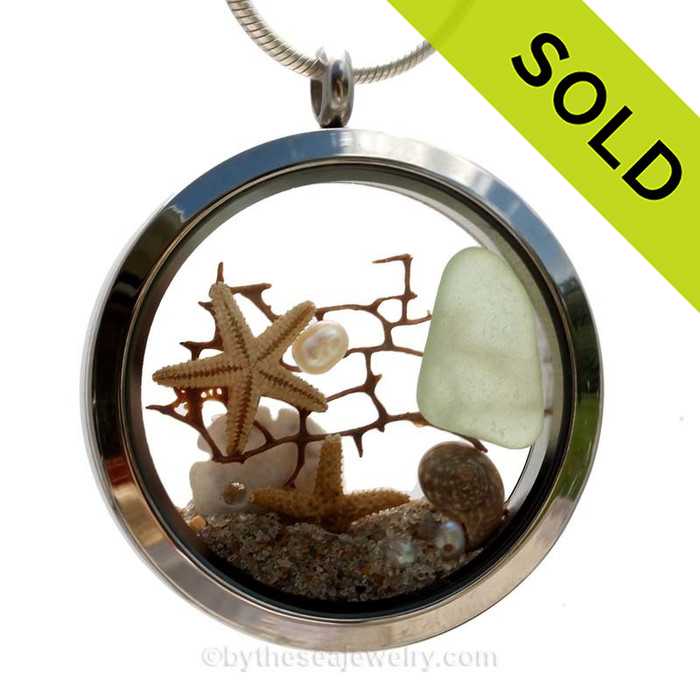 Slice of the Sea  - Seafoam Green Sea Glass & Pearls,Seafan, Starfish and Beach Sand - JUMBO 35MM Locket