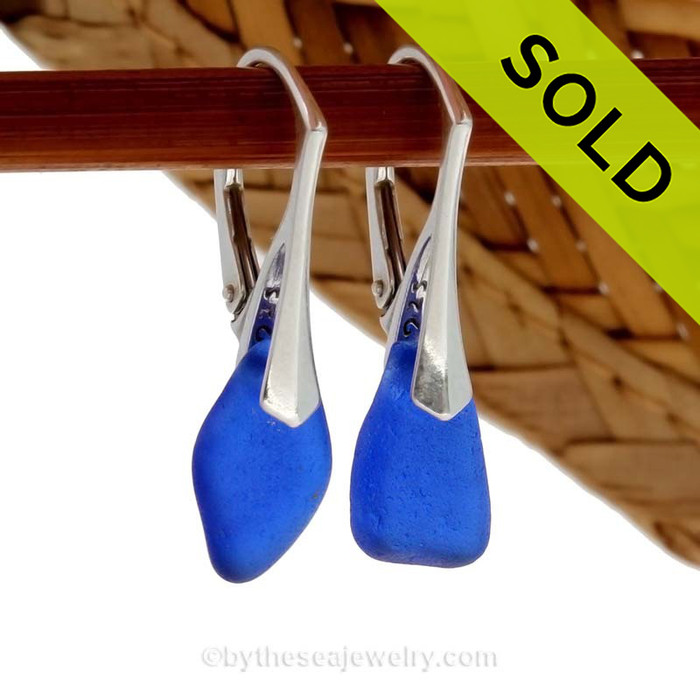 Genuine Cobalt Blue Beach Found Sea Glass Earrings on Sterling Leverback Earrings. SOLD - Sorry these Sea Glass Earrings are NO LONGER AVAILABLE!