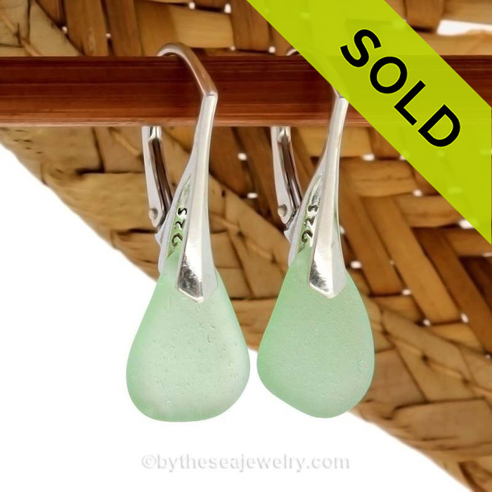 Natural Vivid Sea Green beach found sea glass pieces set on Solid Sterling Silver Leverback Earrings.  Simple and elegant with genuine sea glass pieces. SOLD - Sorry this  Rare Sea Glass Earrings are NO LONGER AVAILABLE!!