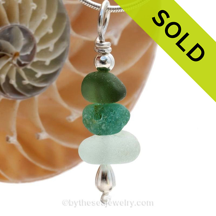 Stunning color combo in this English sea glass stacked necklace is TOP QUALITY! Perfect pieces of beach found sea glass is a simple stack and sterling silver and finished with sterling details. SOLD - Sorry this Sea Glass Necklace is NO LONGER AVAILABLE!