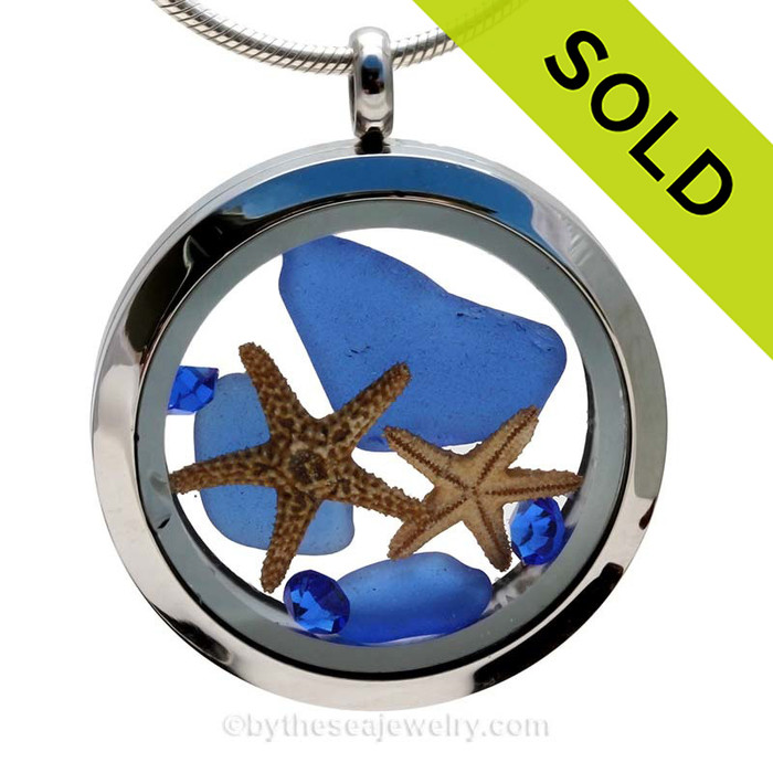 You, Me & The Sea  - Cobalt Blue Genuine Sea Glass With Starfish Stainless Steel Locket
