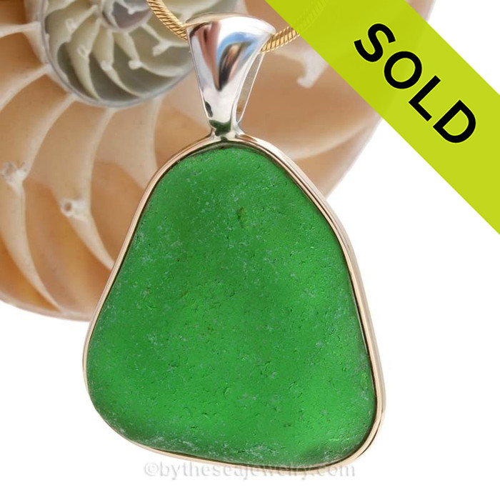 A HUGE and P-E-R-F-E-C-T piece of Vivid Green Genuine Sea Glass in our In Our Deluxe Tiffany Wire Bezel© Necklace Pendant. SOLD - Sorry this Sea Glass Pendant is NO LONGER AVAILABLE!