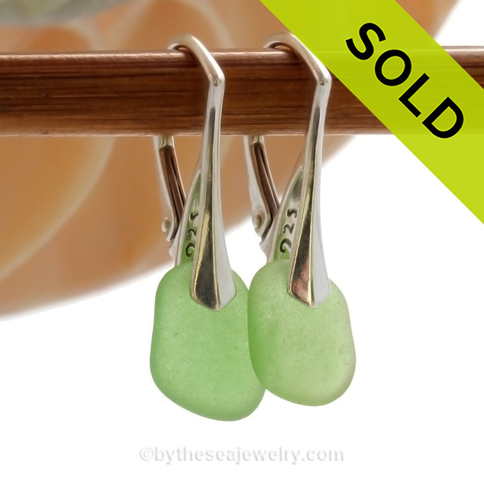 Simple Green Genuine Sea Glass On Solid Sterling Silver Leverback Earrings