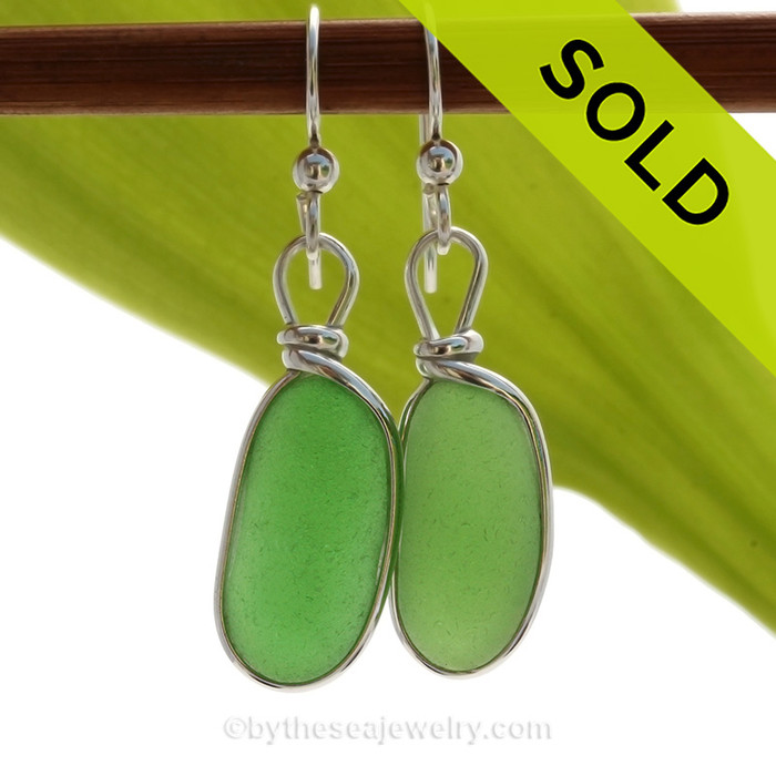 Long Vivid Green Genuine Sea Glass Earrings In Sterling Silver Original Wire Bezel©