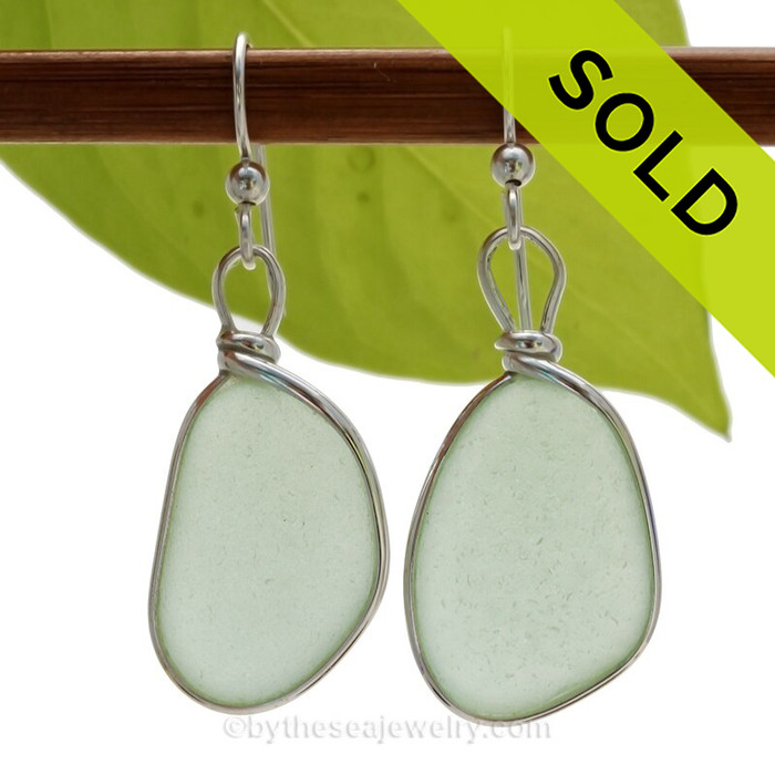 LARGE and PERFECT Seafoam Green  beach found Sea Glass Earrings set in our signature Original Wire Bezel© setting in silver.