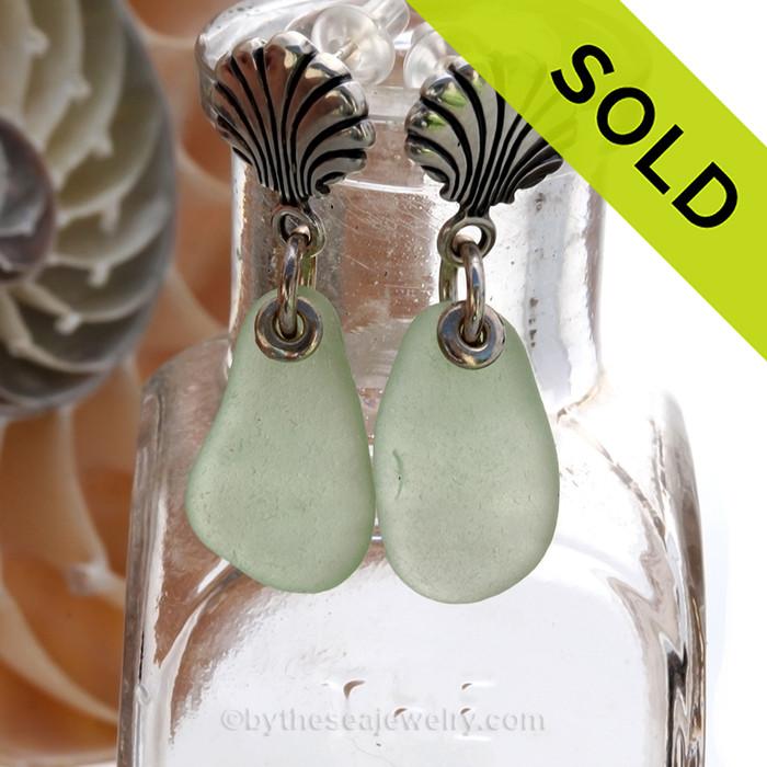 Seafoam Green Sea Glass Earrings On Sterling Silver Shell Posts