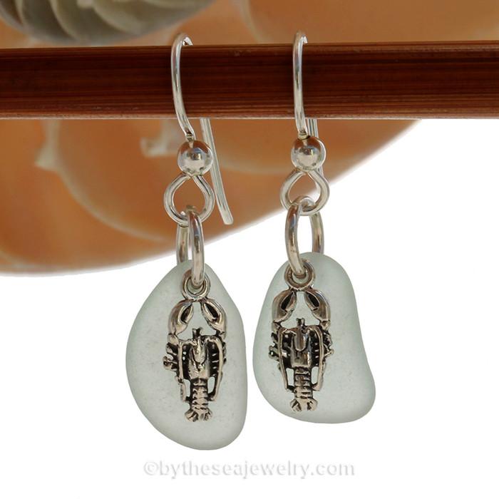 Seafoam Sea Glass Earrings On Sterling W/ Lobster Charms
