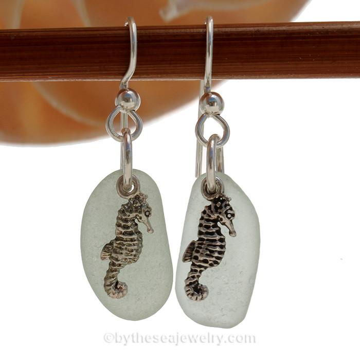 Seafoam Sea Glass Earrings On Sterling W/ Sea Horse Charms