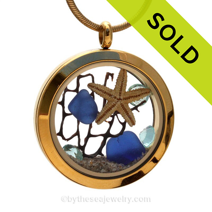 Genuine Blue Sea Glass combined with a baby starfish, crystal gems  and vintage seafan in this  Locket Necklace Goldtone Stainless Steel Locket Necklace