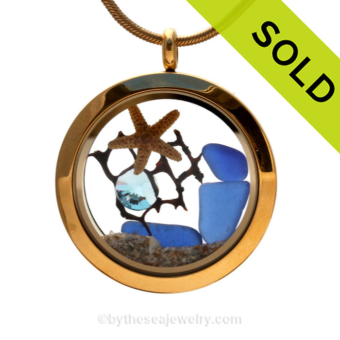 Cobalt Blue Genuine Sea Glass 30MM Locket Necklace With Starfish & Crystal