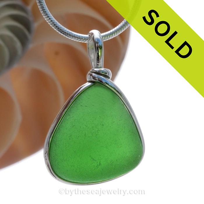 PERFECT Triangle of VIVID Green Genuine Sea Glass Pendant in our Original Wire Bezel© in Sterling Silver