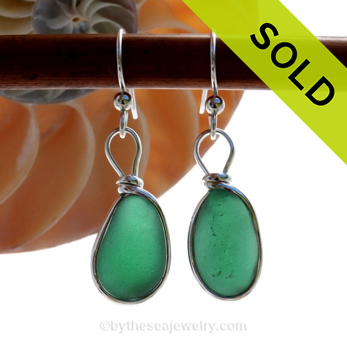 Vivid Green Glowing Sea Glass Earrings set in our Original Wire Bezel Setting lets all the beauty of these beauties shine!  This setting does not alter the sea glass from the way it was found on the beach.
