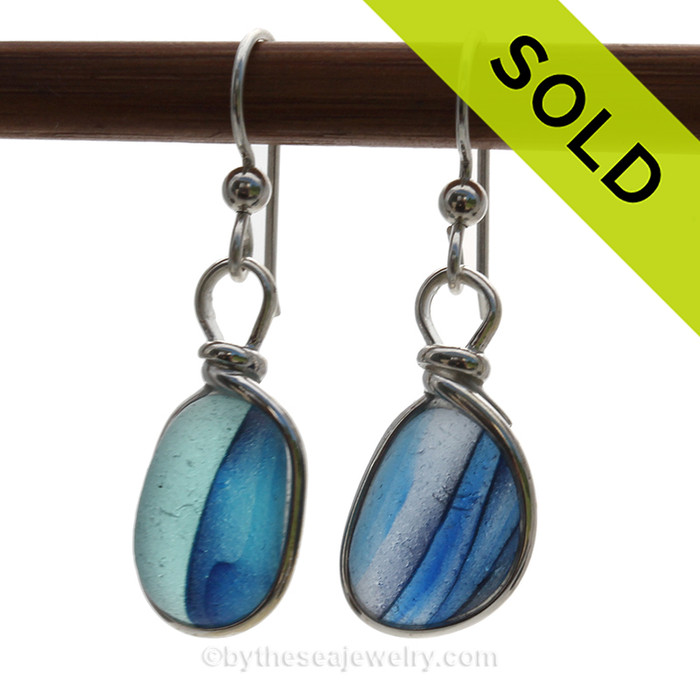Cross Sectioned Petite Aqua, White and Dark Blue Sea Glass Earrings set in our Original Wire Bezel© setting In Sold Sterling Silver. SOLD - Sorry these Rare Sea Glass Earrings are NO LONGER AVAILABLE!
