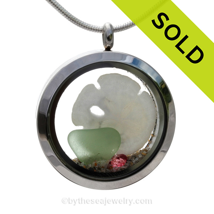 Quiet October  - Soft Seafoam Genuine Sea Glass, Real Sandollar with Pink Tourmaline Gems in a Stainless Steel Locket
