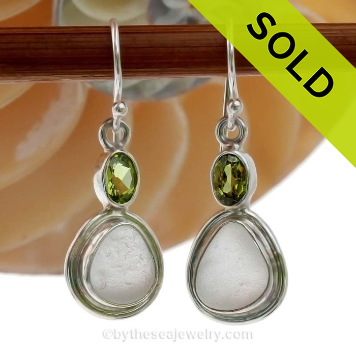 Limited Edition - Classically Set White Sea Glass Earrings In Sterling With Peridot Gems