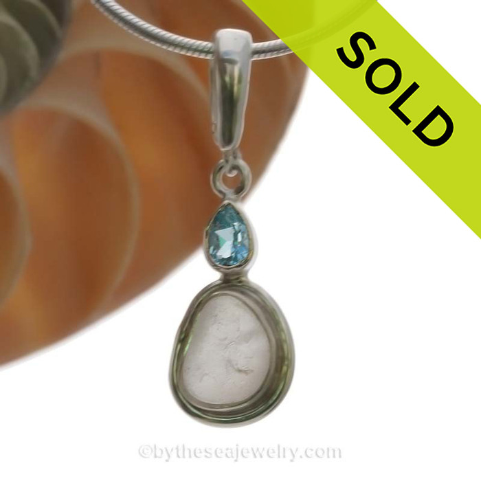 Limited Edition - Classically Set White Sea Glass Necklace In Sterling With Blue Topaz