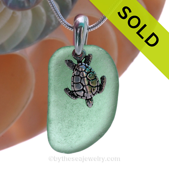 """Vivid Bright Teal Green Sea Glass With Sterling Silver Sea Turtle Charm - 18"""" STERLING CHAIN INCLUDED"""