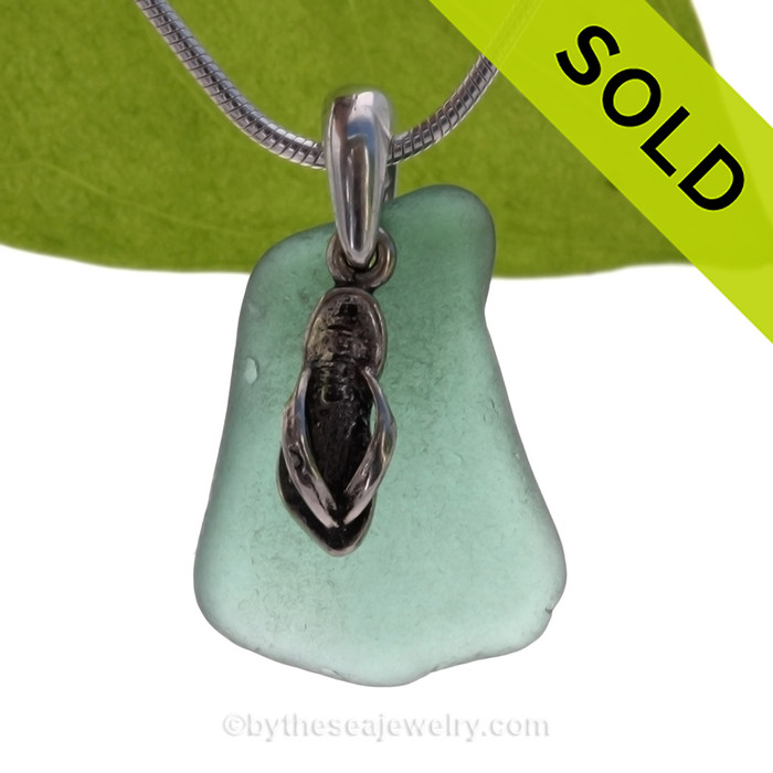 """Lovely Teal Green Sea Glass With Sterling Silver Flip Flop Charm - 18"""" STERLING CHAIN INCLUDED"""