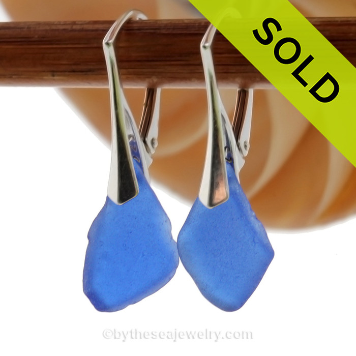 Nice size Genuine Cobalt Blue  Beach Found Sea Glass Earrings on Sterling Leverback Earrings. SOLD - Sorry these Rare Sea Glass Earrings are NO LONGER AVAILABLE!