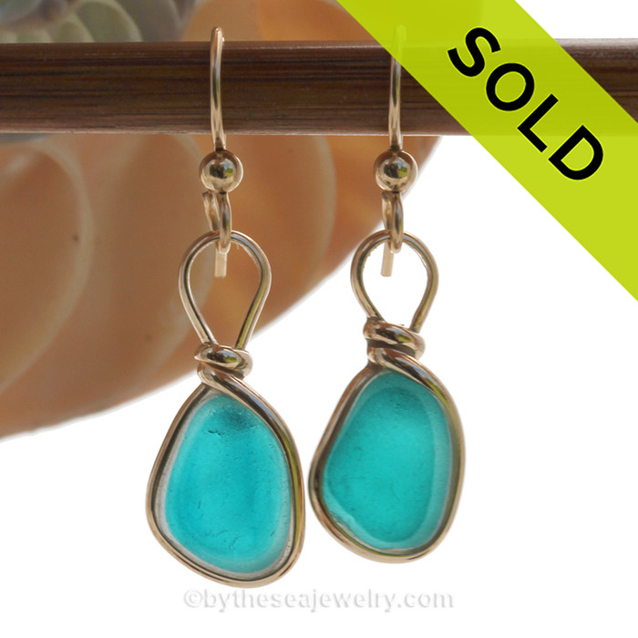 ELECTRIC Petite Turquoise Multi Sea Glass Earrings set in our Original Wire Bezel© setting In 14K Goldfilled. SOLD - Sorry these Rare Sea Glass Earrings are NO LONGER AVAILABLE!