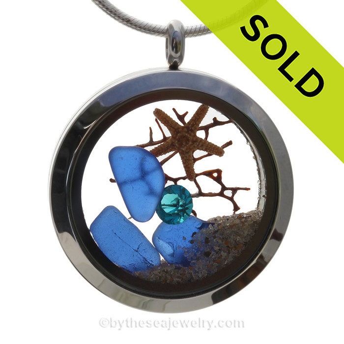 A December Sea  - Cobalt Blue Genuine Sea Glass With Starfish Stainless Steel Locket