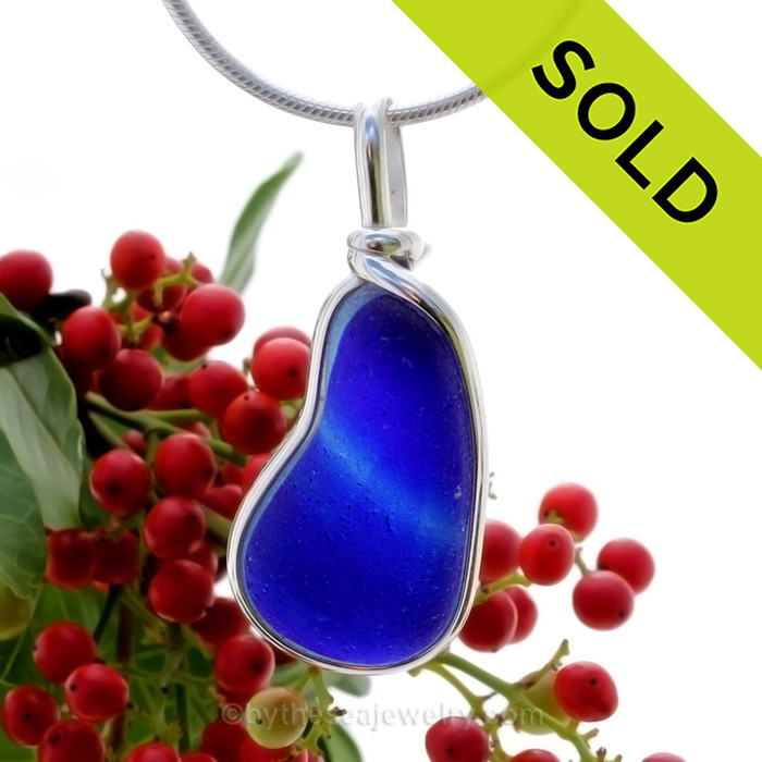 A Lovely Indigo Blue and Cobalt Blue Seaham multi sea glass set in Sold Sterling Silver Deluxe Wire Bezel© pendant setting. SOLD - Sorry this Rare Sea Glass Pendant is NO LONGER AVAILABLE!