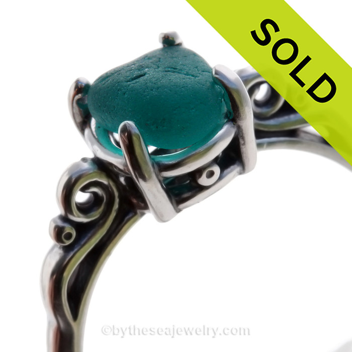 Vivid Teal or Turquoise Green English Sea Glass In Sterling Scroll Ring - Size 8 (RE-SIZEABLE)