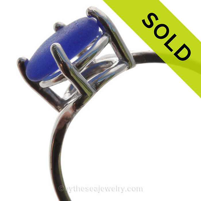 A stunning simple cobalt blue sea glass ring perfect for any sea glass lover!