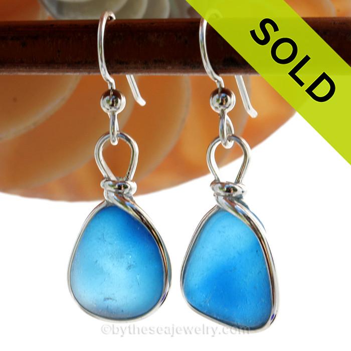 SUPER ULTRA RARE  - LARGE Mixed Aqua Blue Sterling English Multi Sea Glass Earrings In Sterling Original Wire Bezel©