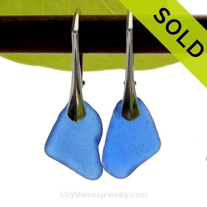 Vivid and Lightweight Genuine Cobalt Blue  Beach Found Sea Glass Earrings on Sterling Leverback Earrings.