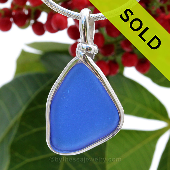 PERFECT Smaller Cobalt Blue Bottle Bottom Sea Glass Pendant In S/S Original Wire Bezel© Pendant. SOLD - Sorry this Rare Sea Glass Pendant is NO LONGER AVAILABLE!