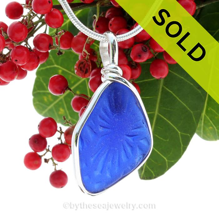 PERFECT UNIQUE Embossed Cobalt Blue Sea Glass Pendant In S/S Original Wire Bezel© Pendant