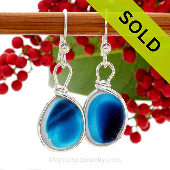 An AWESOME STUNNING match in my English Multi Sea Glass Earrings in a Vivid Mixed Blue set in our Original Wire Bezel© setting in Solid Sterling Silver Original Wire Bezel©. ULTRA RARE - This is EXCEPTIONALLY hard glass to match to this degree! Our Original Wire Bezel© setting lets all the beauty of these beauties shine!