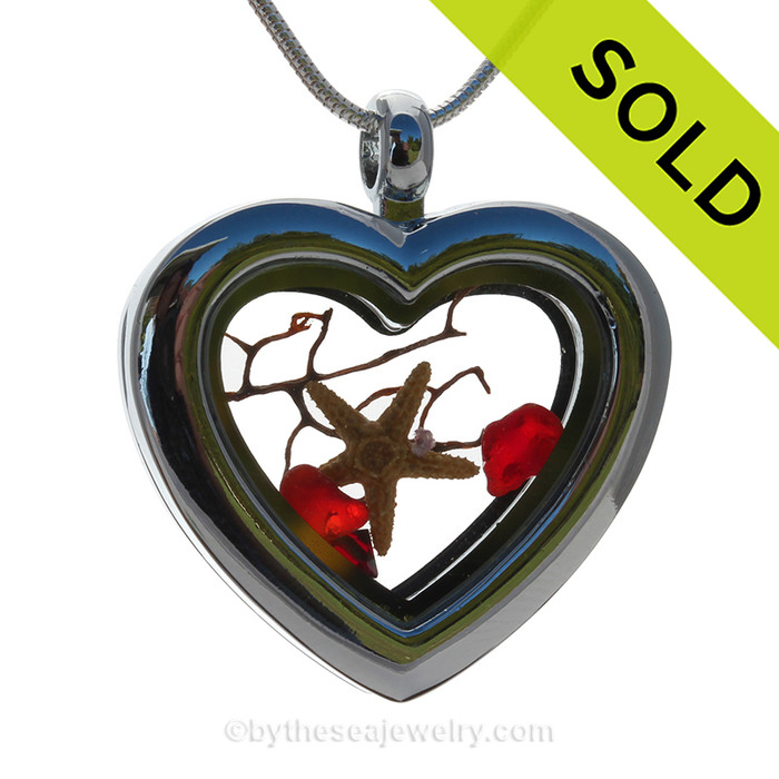 Ruby Red Sea Glass & Starfish Economy Heart Locket Reversible Necklace