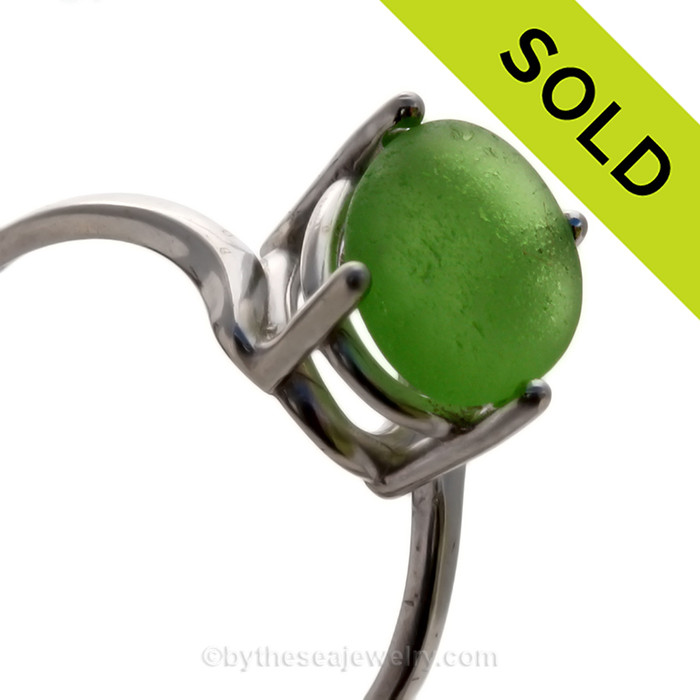 A stunning simple green sea glass ring perfect for any sea glass lover! SOLD - Sorry this Sea Glass Ring is NO LONGER AVAILABLE!