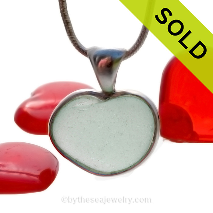 Unique and rare this naturally shaped sea glass pendant is in a heart shape. SOLD - Sorry this Rare Sea Glass Pendant is NO LONGER AVAILABLE!