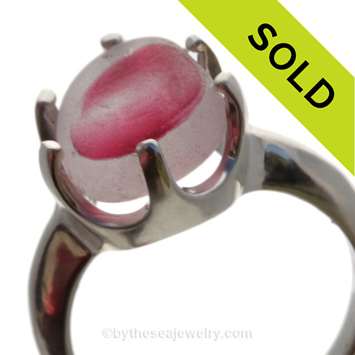 Hot Pink - Natural UNALTERED Mixed Genuine Sea Glass Ring In Sterling  - Size 8 (Re-Sizeable)