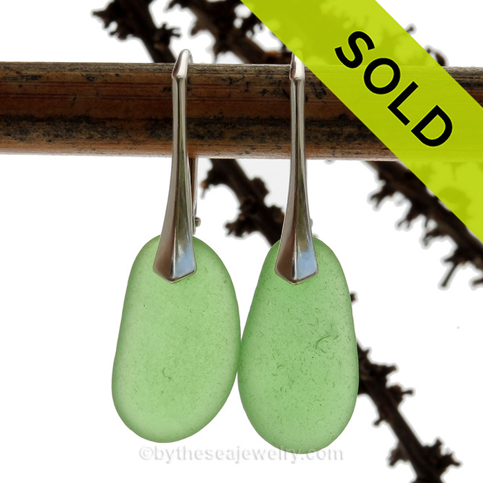 Larger Perfect Simple Green Genuine Sea Glass On Solid Sterling Silver Leverback Earrings