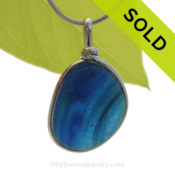 Spring  Tidelines - ULTRA RARE Large Blue Multi Sea Glass Necklace Pendant In S/S Original Wire Bezel©  SOLD - Sorry this Rare Sea Glass Pendant is NO LONGER AVAILABLE!
